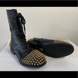 Steve Madden Tarnney Gold Studded Combat Boots